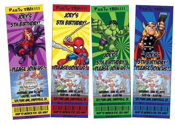 Printable Marvel SuperHero Squad Ticket Style Invitations and Free
