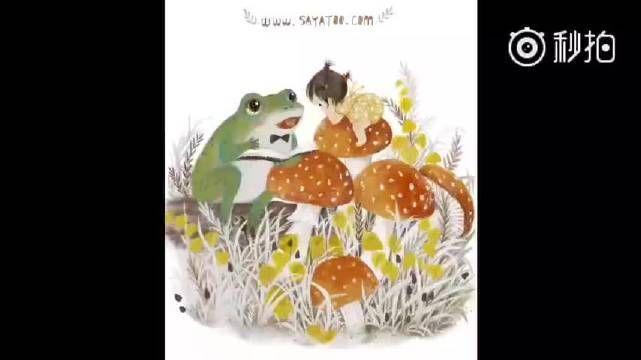 Sayatoo插画涂鸦过程。小Q桃要听童话。蛙蛙老师肚大学问大,嘴大会说话。哈哈…… L秒拍视频 .