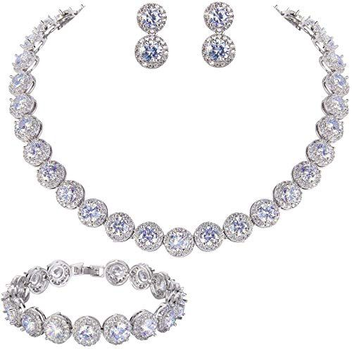 Photo of Enjoy exclusive for EVER FAITH Silver-Tone Round Cut Cubic Zirconia Tennis Necklace Bracelet Earrings Set online – Favortrendyfashion