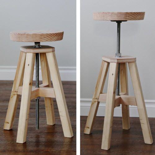 How To Build An Adjustable Height Wood And Metal Stool Homestead Survival Farmhouse Furniture Diy Wood Diy Diy Stool