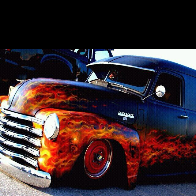 Gmc Car Wallpaper: Old Panel Truck With Some Cool Flames