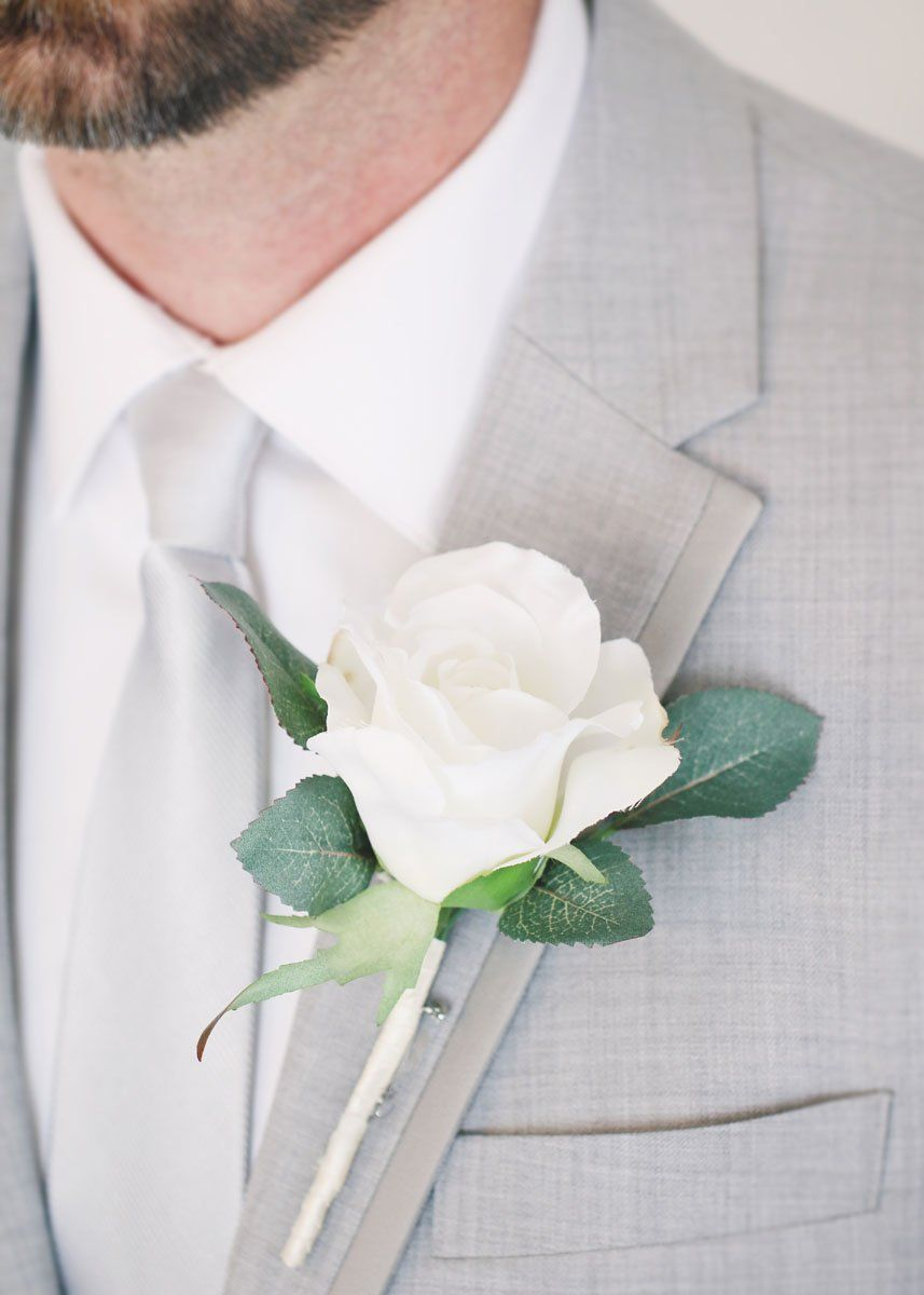 White Rose Boutonniere Make Your Own Wedding Boutonnieres With Silk Flowers Or Find Pre Made