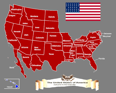 Map Of The United States Of America In 1910 In An Alternate Timeline