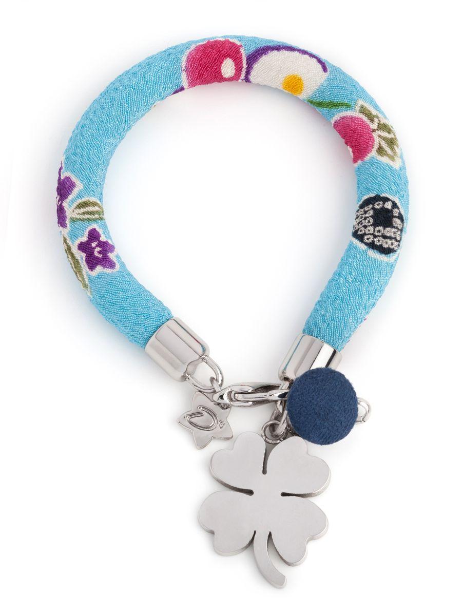 "Desirù ""Chubby"" fantasie ""D'azzurro"" with steinless steel charm #desirù #charm #bracelet #desirumilano #kimono #fashion #milano #italy #jewelry #bracciale"