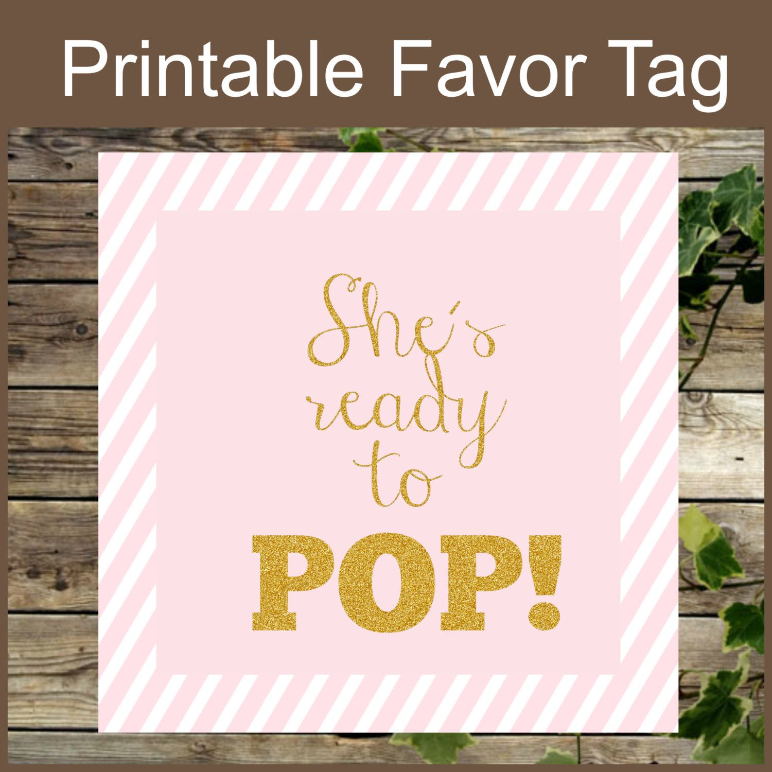 Pink and Gold printable Baby Shower Favor Tag She is Ready to
