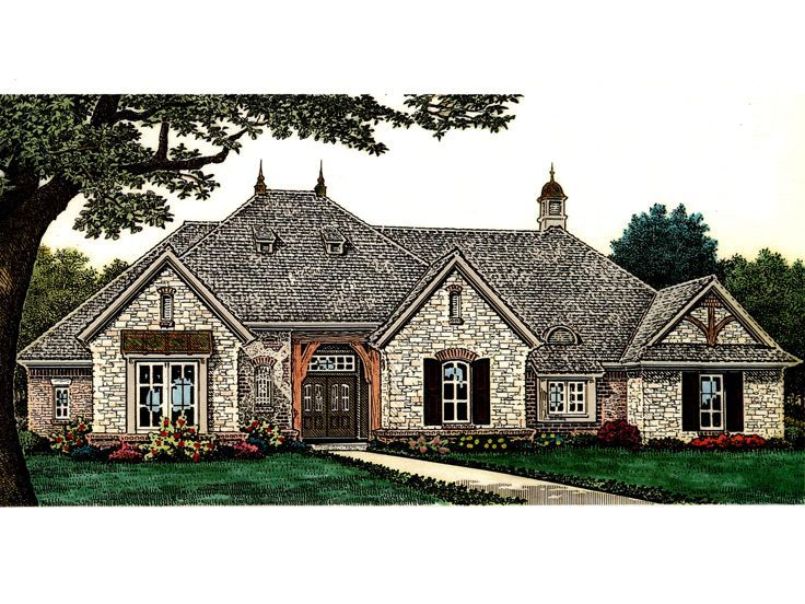 002H-0107: One-Story European House Plan with Split Bedrooms ...