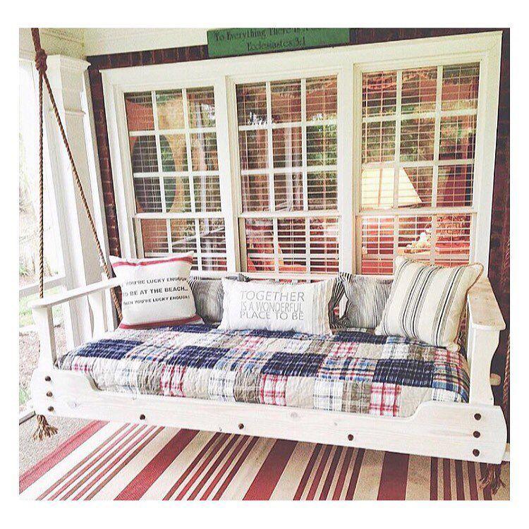 porch swing - http://www.lizmarieblog.com/