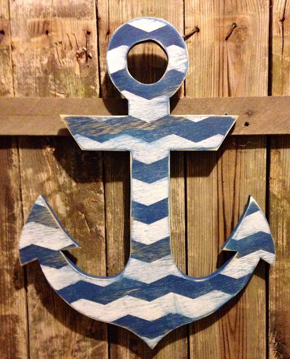 Large Nautical Wall Decor : Large distressed blue wood anchor with nautical jute wall
