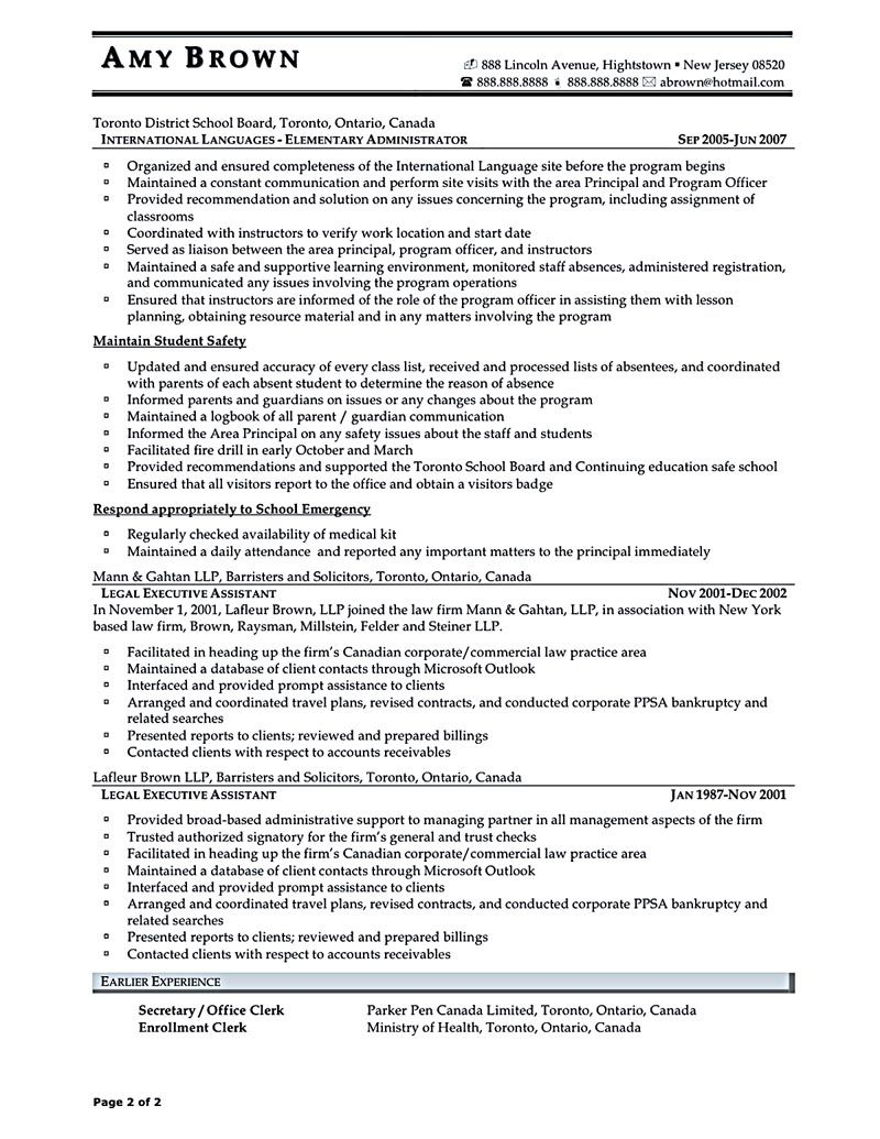 executive assistant sample resume Executive assistant