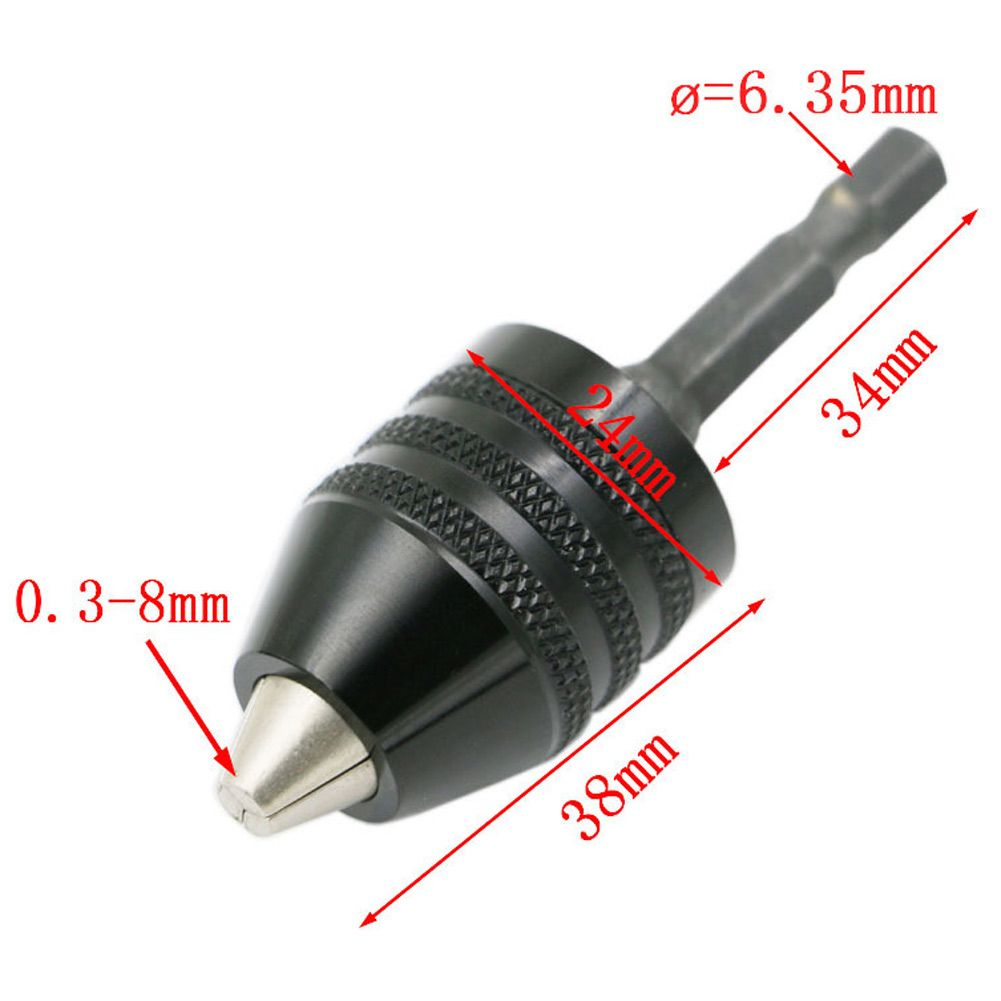 1*Chuck Quick Change Tool 1//4 6.35mm Adapter Converter Hex Shank Keyless Drill