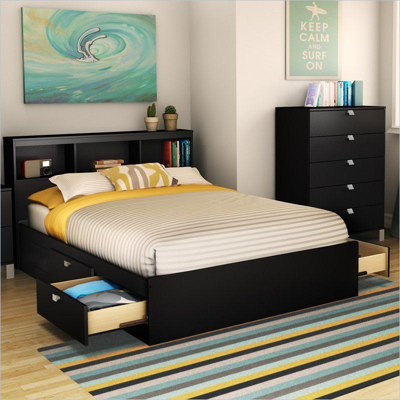 South Shore Affinato Full Mates Bed In Pure Black Bed Frame With