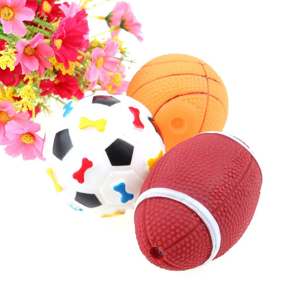 3pcs Squeaky Dog Ball Rugby Basketball Football Rubber Ball