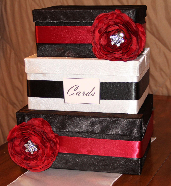 Satin wedding card box with royal blue flower and rhinestone mesh trim - Custom Stunning 3tiered Satin Wedding Card Box In By Savvysatin 60 00