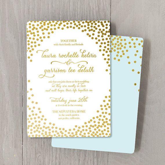 Confetti Gold Foil Custom Wedding Invitation Sample Set Stamped Modern Script
