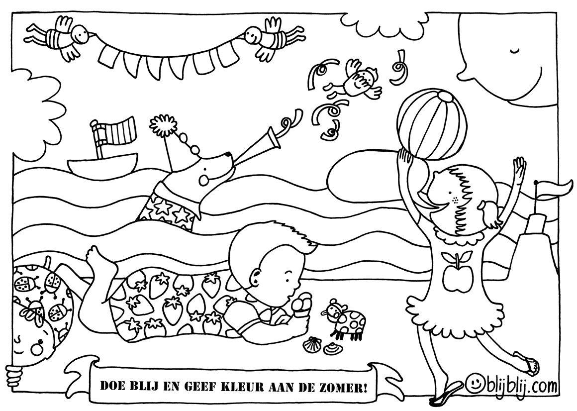 Summer Coloring For Http Www Blijblij Com Zomer Kleurplaat Met Kindjes Zon Zee Zeehond En Vlaggetjes Zomer Kleurplaten Kleurplaten Zomer