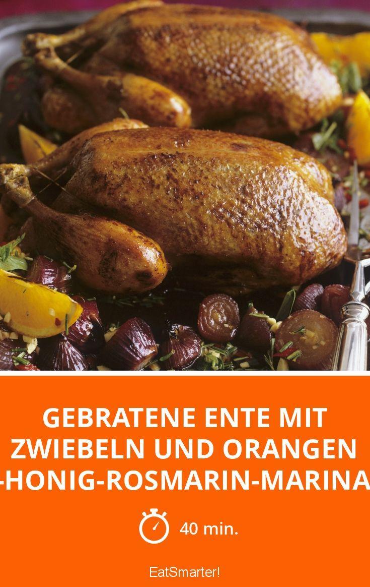 Gebratene Ente mit Zwiebeln und Orangen in-Honig-R