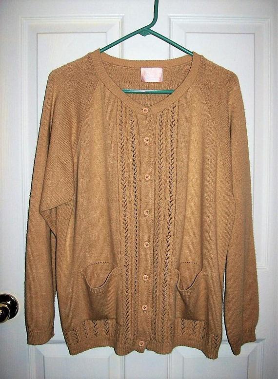 Vintage Ladies Tan Cardigan Sweater Swann by Lynda Smith Swann ...