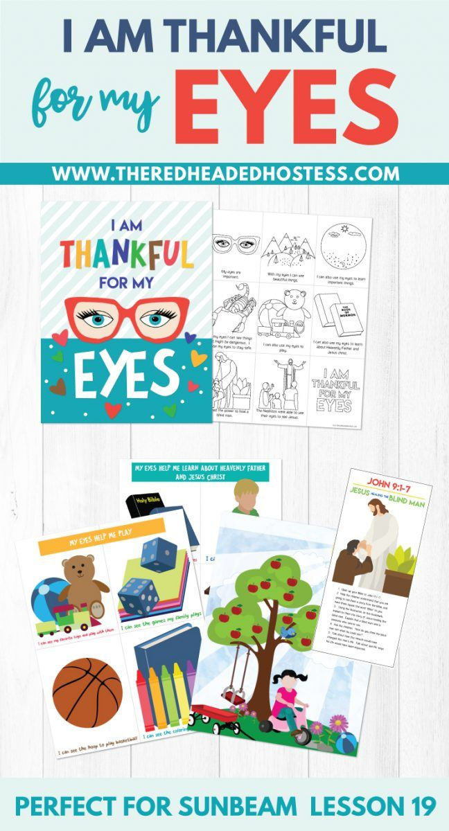 Sunbeam Lesson 19 I Am Thankful For My Eyes Coloring Page