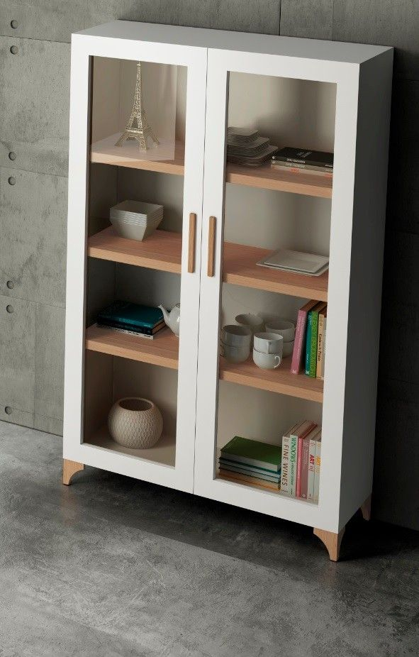 Vitrina moderna lieto blanco brillo e5 muebles for Vitrinas para comedor modernas