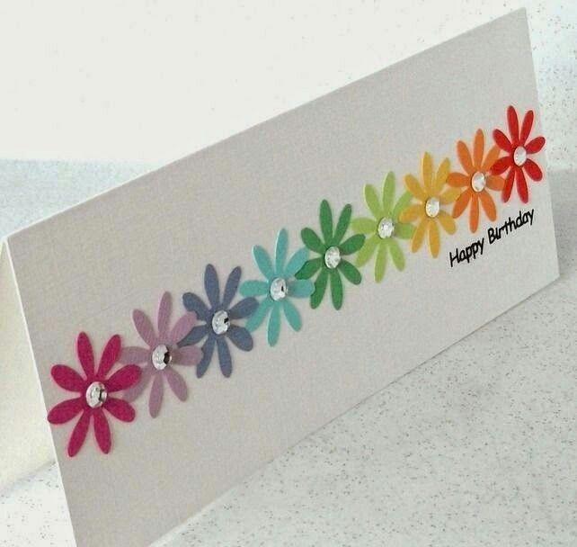 Card Flowers Simple Cards Handmade Birthday Cards Cards Handmade