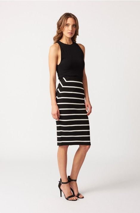 Decjuba Camille Stripe Skirt and Cotton Tank. Great for work and from day to night.