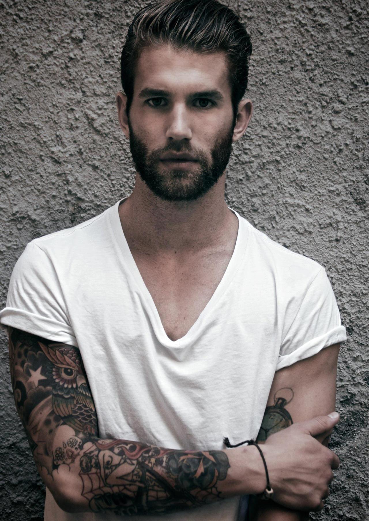 Bearded For Her Pleasure Beards Facial Hair Love Manly Men Mens V-neck T-shirt