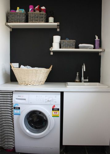 Laundryafter1 Picture On Visualizeus Laundry Room Inspiration Black Walls Dream Laundry Room