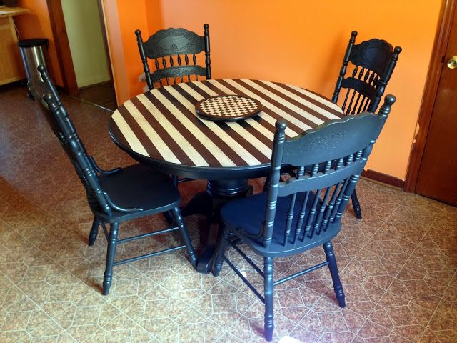 Black And White, Striped And Checkered Dining Table Set