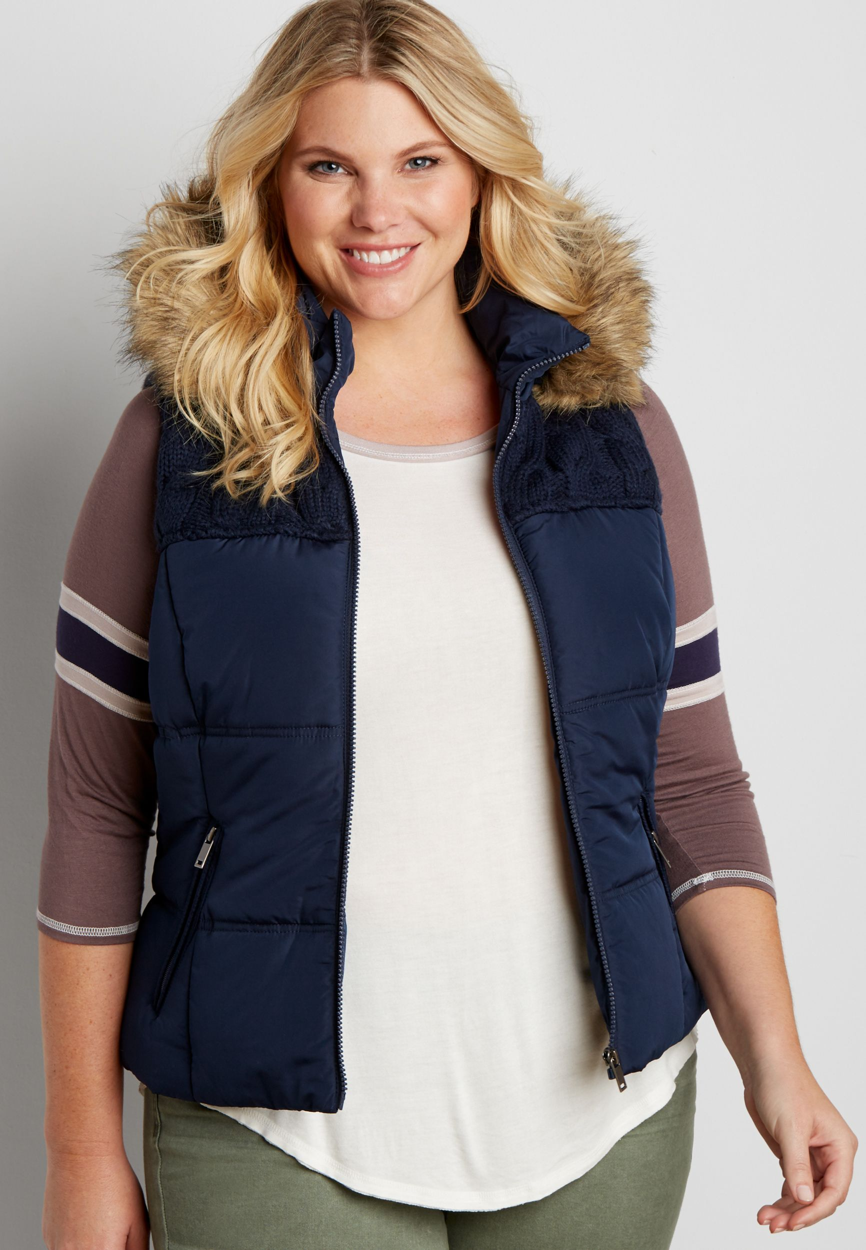plus size puffer vest with cable knit yoke (original price,  $79.00 ) available at #Maurices
