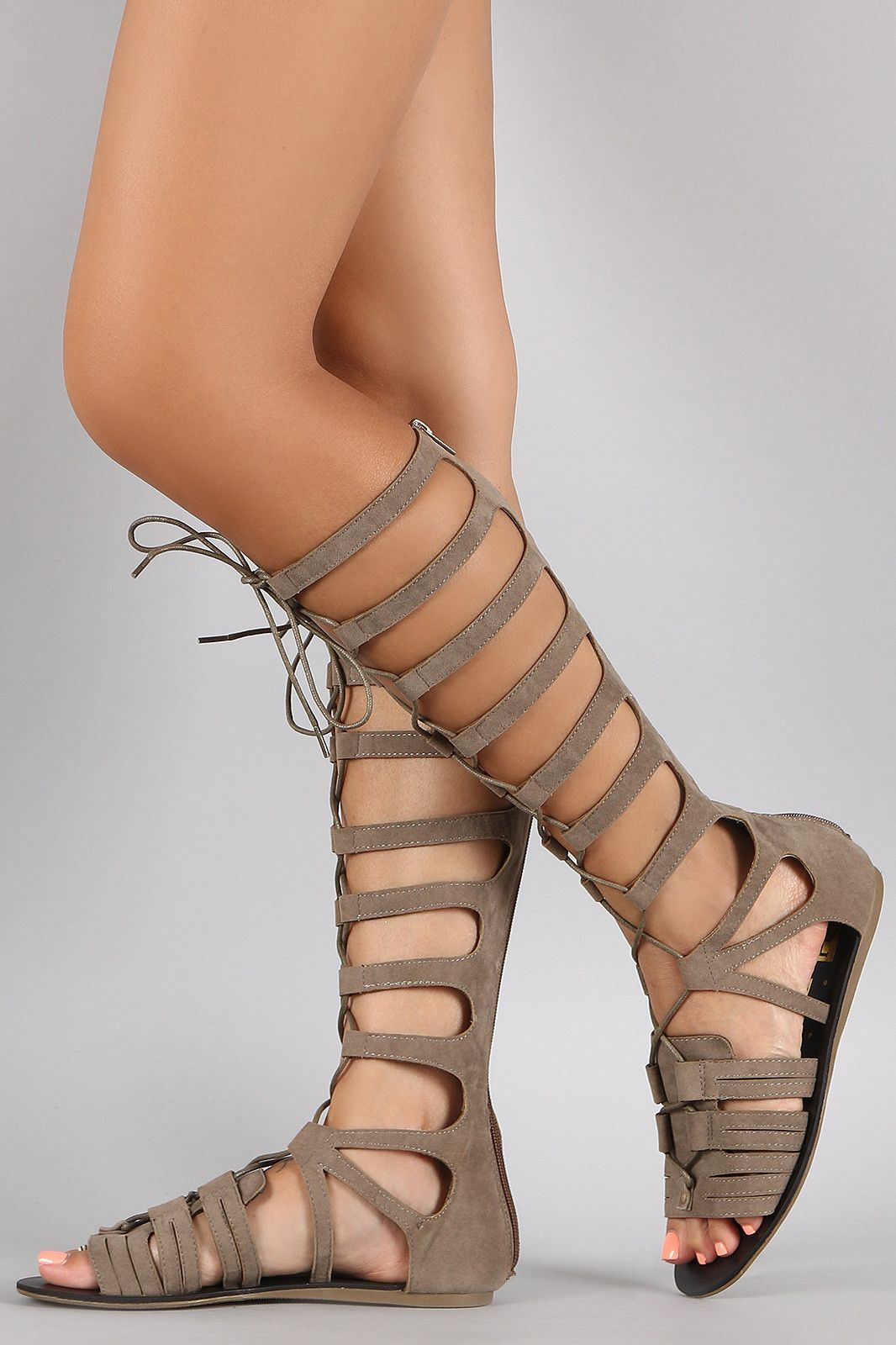 Suede Strappy Corset Lace Up Gladiator Flat Sandal