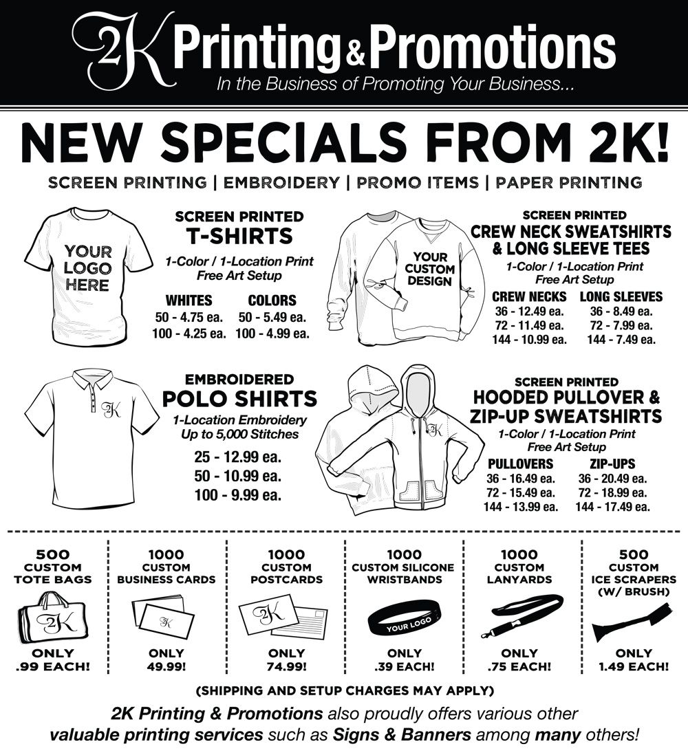 635a49a4 Specials from 2K Printing & Promotions! | Custom Screen Printing