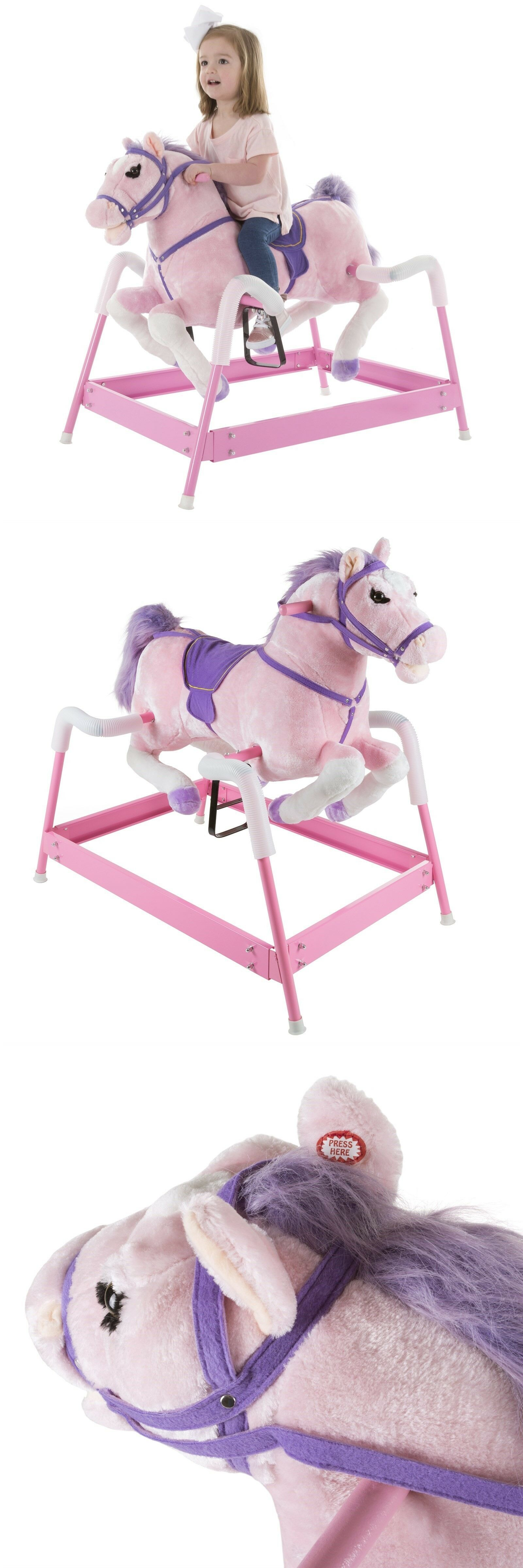 Rocking Horses 19024 Plush Pink Rocking Riding Bouncing Horse Pony On Springs Galloping Sounds Buy It Now Only 114 99 On Rocking Horses 19024 Thing