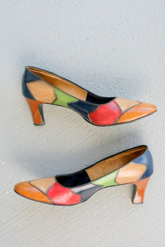 1960s COLORFUL TWIGGY Heels.....size 9.5 by retroandme on Etsy