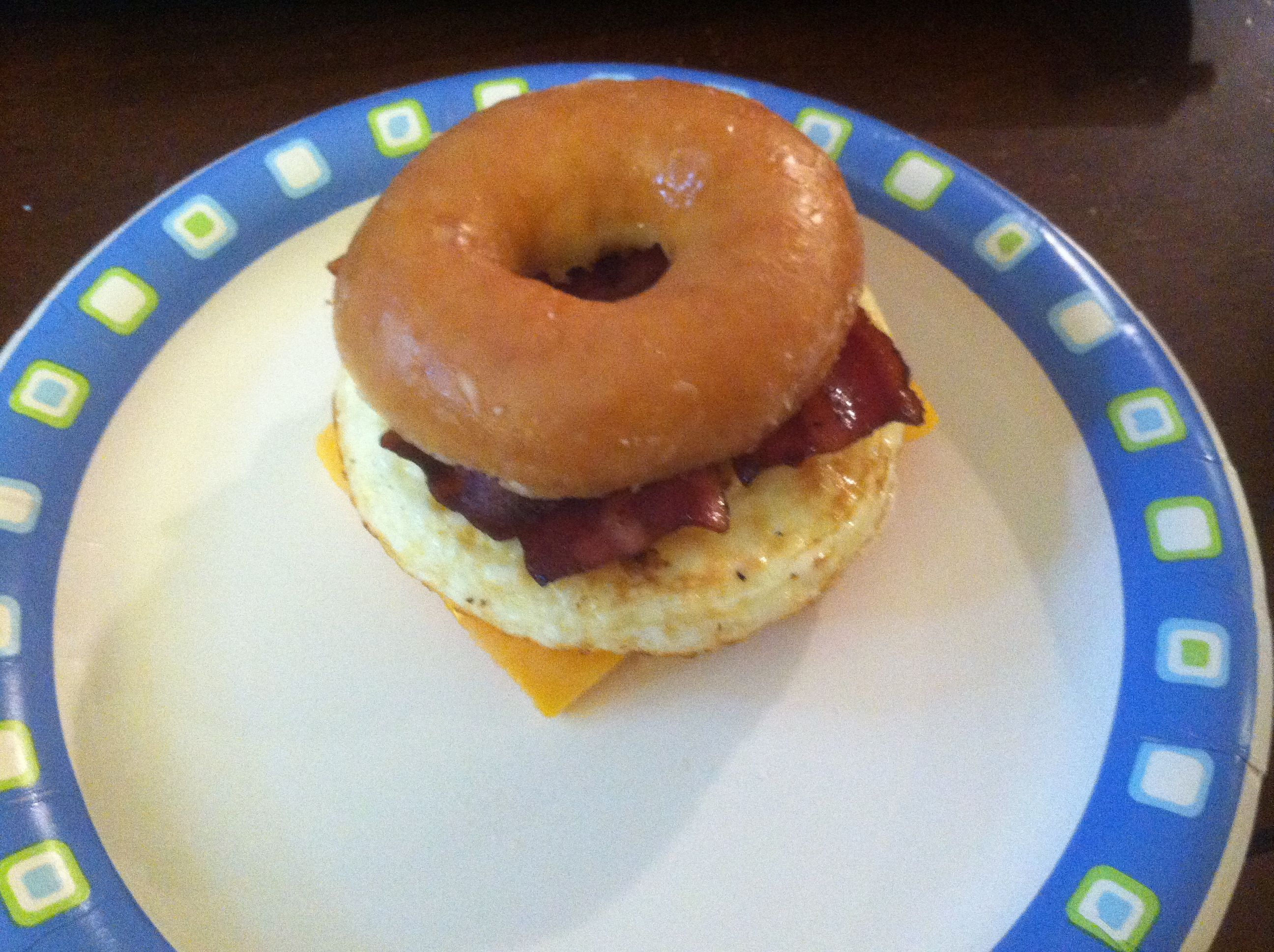 Krispy Kreme breakfast sandwich  1 donut 2 egg whites Extra sharp cheese Turkey bacon