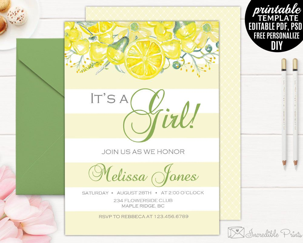 Yellow Baby Shower Invitation Template, Printable Girl Baby Shower ...
