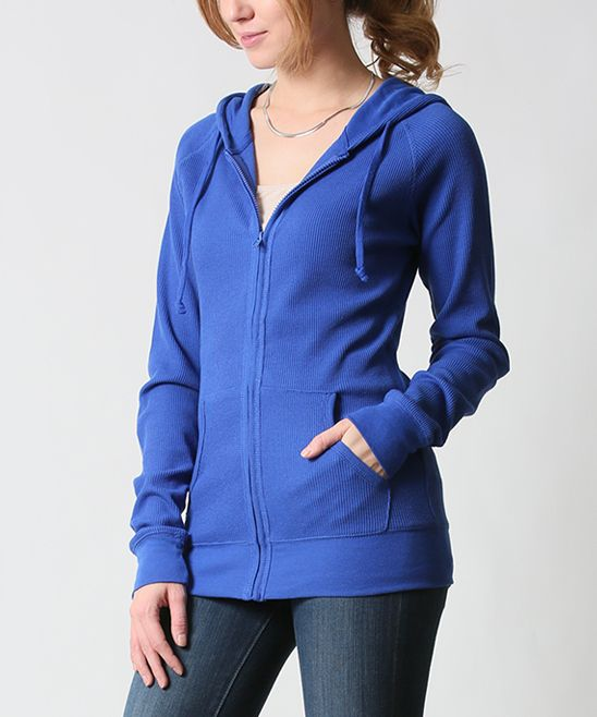 42POPS Royal Blue Thermal Zip-Up Hoodie | zulily . $16.99 $45.00 size: size chart  S M  Product Description:  This chilly-weather basic features two pockets to keep hands warm and store essentials. Thermal fabric delivers all-day comfort.      54% cotton / 44% polyester / 2% spandex     Hand wash     Imported