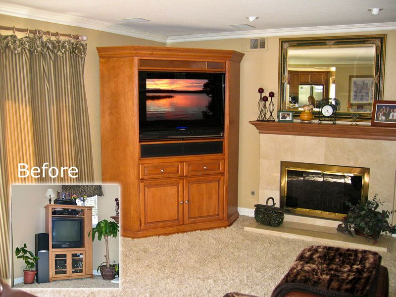Gentil C 110 Corner TV Armoire Great For Flat Panel TVs, Sound Bar, And