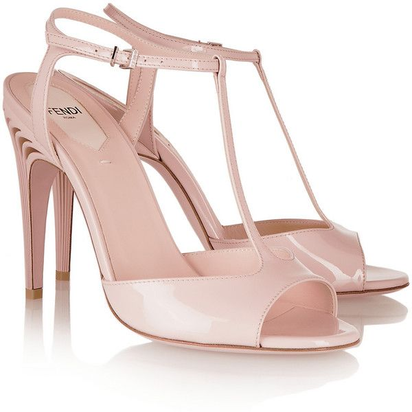 c2841456b51 Fendi Patent-leather T-bar sandals ($830) ❤ liked on Polyvore ...