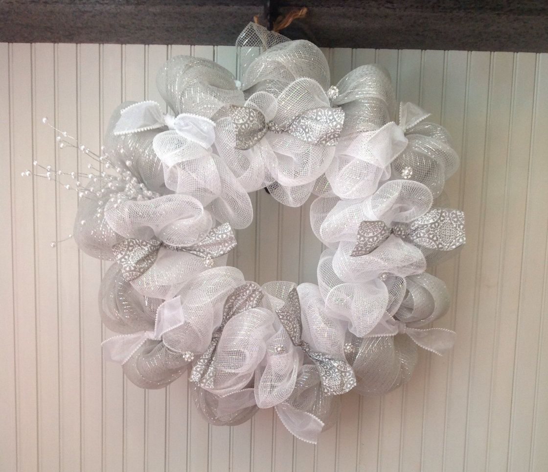 White and silver deco mesh wreath, Christmas deco mesh wreath, white ...