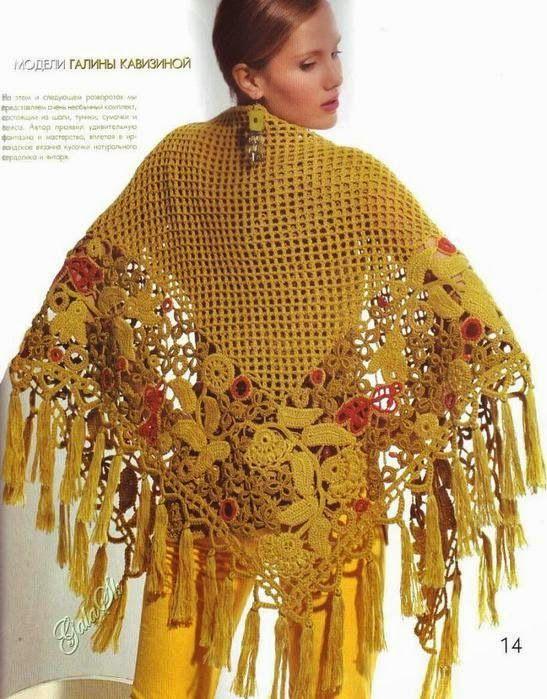 Patrones de Chal super elegante crochet irlandés   bufandas ...