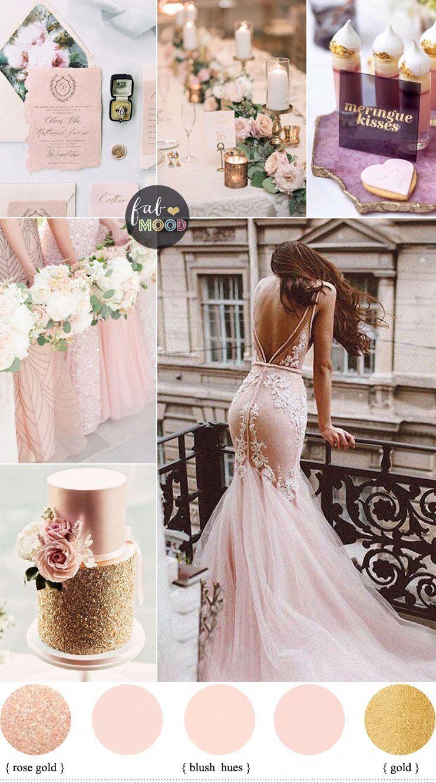 Blush And Rose Gold Wedding Colour Palette Beachwedding Gold