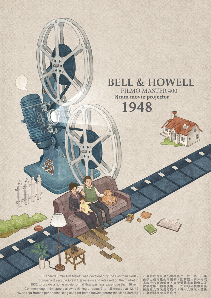 Bell & Howell Filmo Master 400 8mm movie projector, 1948.