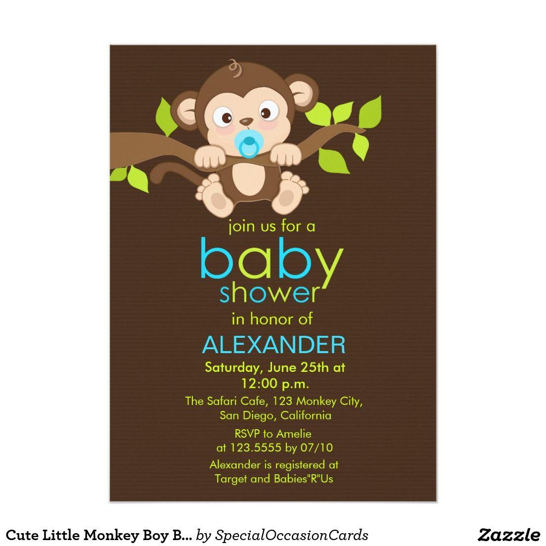 Cute Little Monkey Boy Baby Shower Invitation | Boy baby showers ...