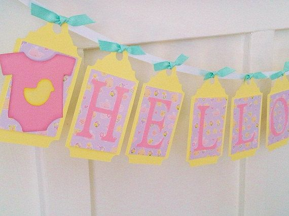 Baby Shower Decor Clearance ~ Clearance sale hello baby paper banner baby shower bunting decor