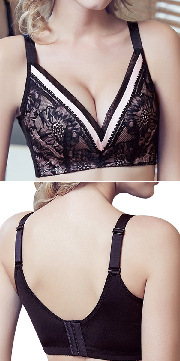 a3338a4173b6d Sexy Wireless Deep V Printed Breathable Adjustable Gather Thin Bras ...