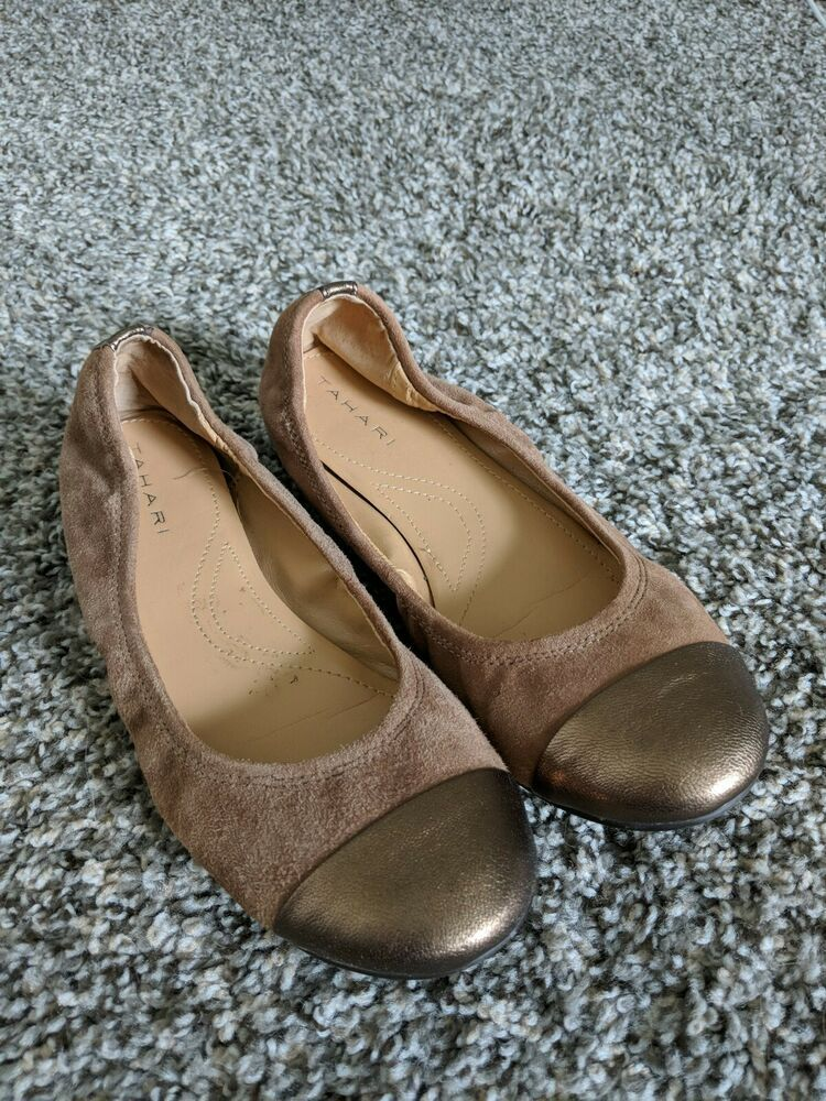 Tahari Carly Slip On Shoes Ballet Flats Brown Gold Suede
