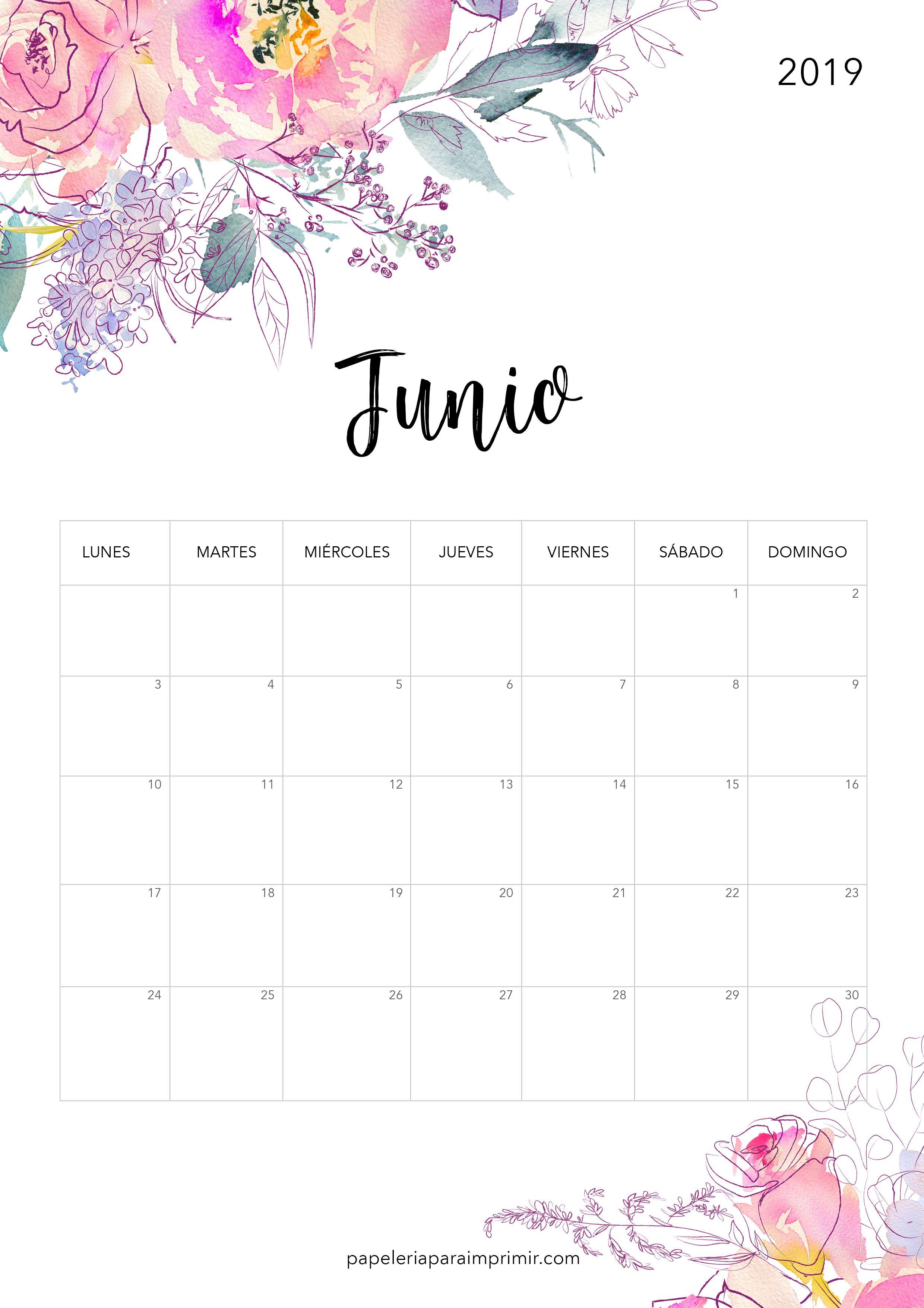 Calendario Junio 2019 Para Imprimir Pdf.Calendario Para Imprimir Junio 2019 Calendario Imprimir Junio