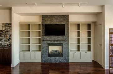 Upper Beaches condo built-in bookcase - traditional - living room - toronto - Seva Rybkine