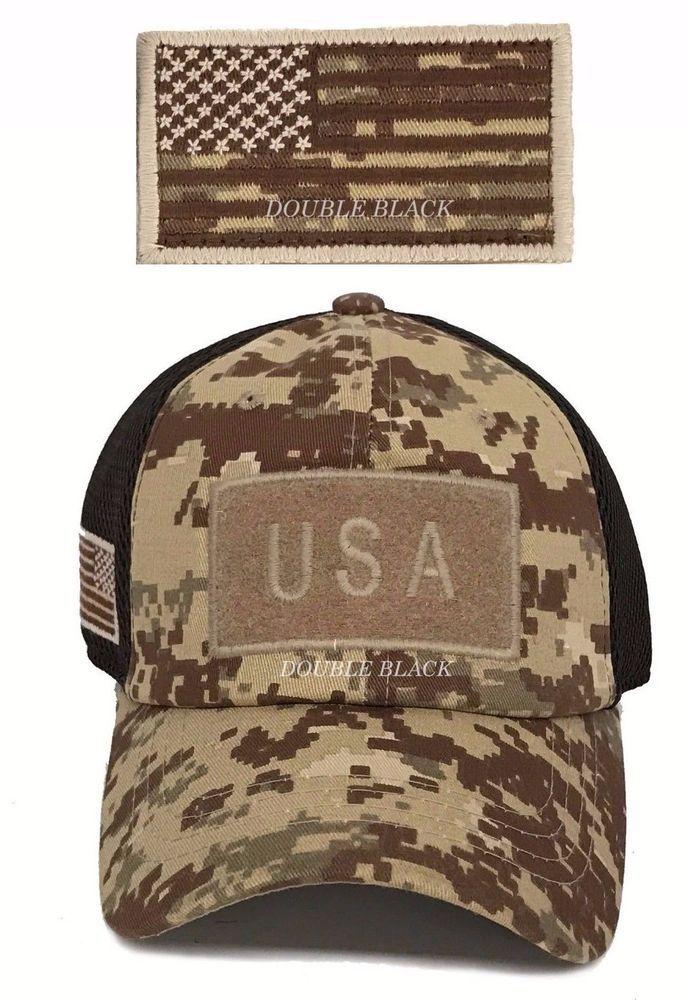 USA American Flag Tactical Operator Hat Military Mesh Cap Desert Digital  Camo  Clover  BaseballCap 4c80087ffaea