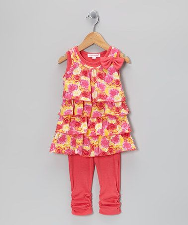 Take a look at this Peach Floral Bow Ruffle Top & Leggings - Toddler & Girls by Girls Luv Pink on #zulily today!